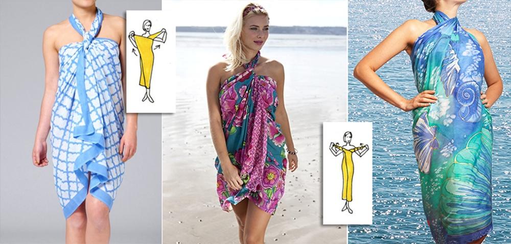 Простые схемы с фото, как красиво завязать парео на пляж