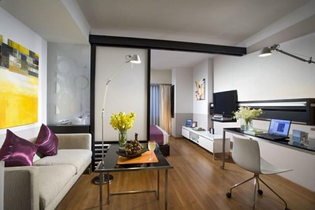 Фото идеи как совместить гостиную и спальню и в одной комнате