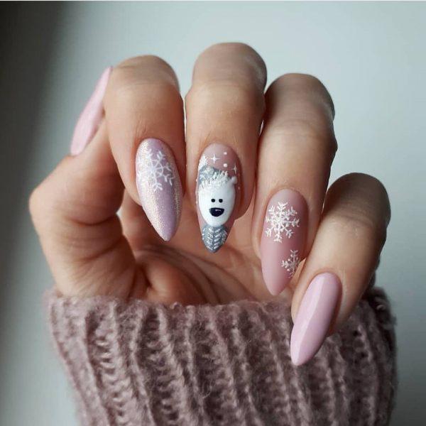 Нежный дизайн ногтей со снежинками 2021-2022: лучшие идеи зимнего маникюра со снежинками