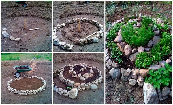 Как красиво уложить камни на клумбе